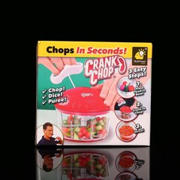 Second hand wholeSale online shopping - Crank Chop Plastic Round Vegetable Cutter Chops In Seconds Blade Hand Chopper For Home Manual Drawstring Meat Grinders sf BW