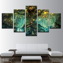 Art Canvas Prints Australia - Canvas Pictures Home Decor Wall Art HD Prints 5 Pieces Enchanted Tree Scenery Painting Modular Vintage Magic Forest Poster Frame