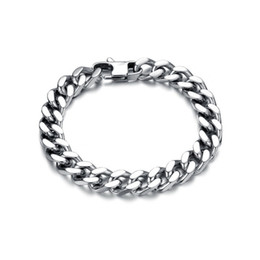 bracelets 14mm UK - Heavy Stainless Steel Bracelet Chain 10 12 14mm Width 22.5cm Length Fashion Women Men Jewelry