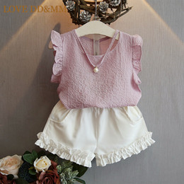 children chiffon wears 2019 - Girls Clothing Sets 2017 Summer Children Clothing Wear Pearl Chiffon T-Shirts + Shorts Sets Kids Clothes For Girl cheap