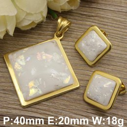 Wholesale Pendant Sets NZ - whole saleHot new stainless steel jewelry gold color Superior quality pendants+ Earrings sets for women SFXABSBB