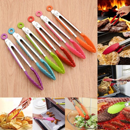 Kitchen Serving Tongs Australia - New Stainless Steel Silicone Kitchen Tongs BBQ Clip Salad Bread Cooking Food Serving Tongs Kitchen Tools