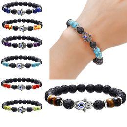 4ba62e8c5c3c Mano de Fatima Evil Eye lava Pulsera de yoga Negro Lava Stone Chakra Beads Aceite  esencial Difusor Pulsera Balance Yoga Joyería 320163
