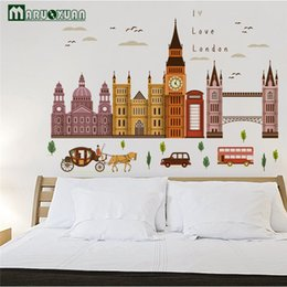 Wall Stickers London NZ - MARUOXUAN Hot Sell Big Ben In London Architecture Series Wall Stickers Living Room Bedroom Vinyl Mural Art Wall Decals