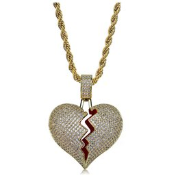 $enCountryForm.capitalKeyWord NZ - 2018 Hot selling European and American personality heart broken men and women lovers pendant full of zircons Necklace