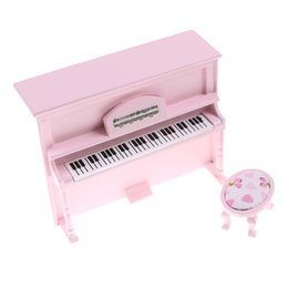 Wholesale Music Instrument Dollhouse Accessories Miniature Wooden Piano with Stool