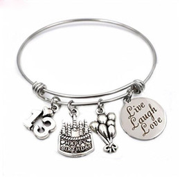 sweet 16 gifts Australia - Birthday Gifts Happy birthday Stainless Steel Expandable Bangle 13th Sweet 16 18th 21st 30th 40th 50th 60th for her gift