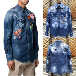 Wholesale Patches Jeans Shirt Cool Guy Distressed Bleach Wash Painted Trim Fit Denim Shirts Man Casual Cowboy Top