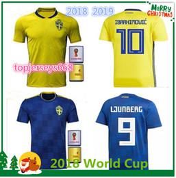 5ced1050c 2018 SWEDEN World Cup HOME KIT IBRAHIMOVIC KALLSTROM Soccer Jerseys 18  Sweden National Team Jerseys Football shirt