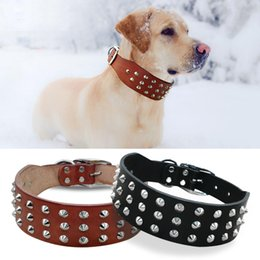pitbull dogs 2020 - Cool Rivets Studded Best Genuine Leather Pet Dog Collars For Small Medium Large Dogs Black Brown Boxer Pitbull XS S M L