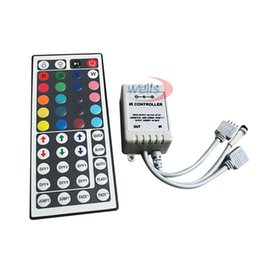 44 Keys Ir Remote UK - Dual Connectors 2 Outputs 44 key IR Remote Controller For 3528 5050 RGB SMD LED Strip 12V 6A 72W