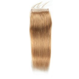 Discount bleached natural hair - Honey Blond Brazilian Remy Straight Human Hair Lace Closure #27 Color Bleached Knots Pre Plucked With Baby Hair
