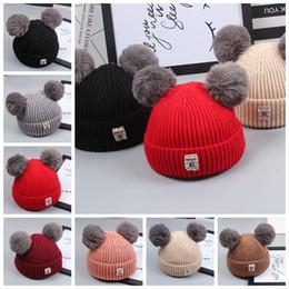 Discount wool ball hat children - Baby knit hat Rabbit fur ball wool caps headgear hat Autumn and winter outdoor children's double lazy rabbit fur ha