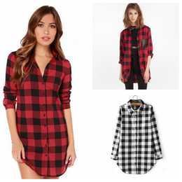 Wholesale army clothes online shopping - Women Red Plaid Shirts Long Sleeves lattice Oversiz T shirts Loose Grid Lapel Long BlouseTops Lady Spring Autumn Tees home clothing AAA1089