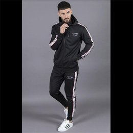 Body Fitness Suit Australia - NEW Sportswear Tracksuits Men Sets Running Gym Tracksuit Fitness Body building Mens Hoodies+Pants Jogger Sport Suit Men Clothing