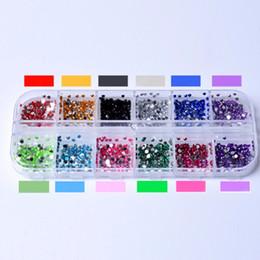 color glitter tips 2019 - rhinestone broach New Mix 12 Color 2mm Circle Beads Nail Art Tips Rhinestones Glitters Nail Supplies Acrylic UV Gel Gems