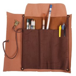 China BLEL Hot Retro Pirate Treasure Map Pattern Roll up PU Leather Pencil Case Holder Offcie Painting Organizer cheap pencil roll wholesale suppliers