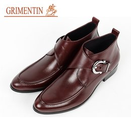 Grimentin Shoes UK - GRIMENTIN Brand mens boots hot sale formal Large size mens shoes genuine leather high quality black brown dress mens ankle boots