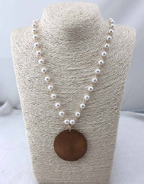 plastic rosary wholesale NZ - Wholesale Fashion Rosary Pearl linked wooden pendant necklace
