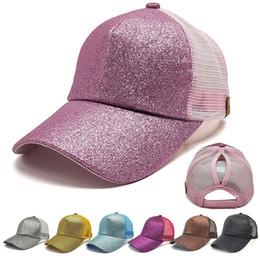 2018 Women Ponytail Baseball Cap Sequins Shiny Messy Bun Snapback Hat Sun  Caps Cotton baseball cap gorras para hombre  60620 de1dfa1878f4
