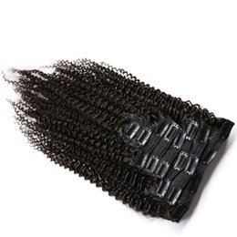 Clip Human Hair Extensions Remy 24 UK - Kinky Curly Hair Clip in Human Hair Extensions 120g Set Natural Brazilian Remy Hair Extensions 8pcs Set For Black Woman