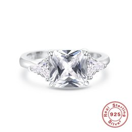 Wholesale Sterling Silver Bridal Rings UK - Fine Jewelry Bridal Wedding Rings For Women S925 sterling-silver-jewelry Cubic Zirconia Rectangle Stone Ring Cincin Wanita