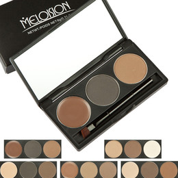 Makeup palette Mirror online shopping - New makeup MELOISION Eyebrow palette color eyebrow powder eyebrow cream styles g Cosmetics palette with Mirror Brush DHL shipping