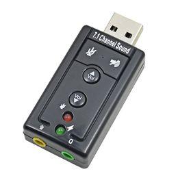 Мини внешний USB звуковая карта 7.1-канальный 3D аудио адаптер конвертер + 3.5 мм гарнитура микрофон для ПК настольный ноутбук
