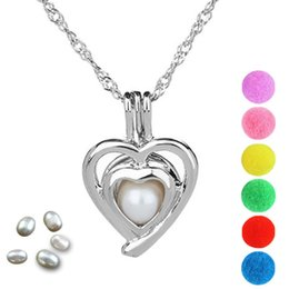 cage pendants for pearls 2019 - Pearl Cage Heart Love Locket Pendant Findings Cage Essential Oil Diffuser Locket For Oyster Pearl Fiber Ball cheap cage