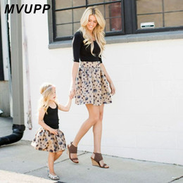 Match Clothing Mom Baby NZ - MVUPP mother daughter clothes family look dress Dot zipper floral A line Skirts mom and baby girl toddler kids matching clothing