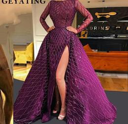 Purple High Side Split Mermaid Prom Dress Long Sleeves Detachable Train Party  Gowns Dubai Turkish Arabic Evening Dresses 2019 b1d59471507b
