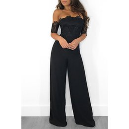 Royal Blue Lace Jumpsuit UK - Womens Clothing Lace Embroidery Black Red Royal Blue Fashion Jumpsuit Off Shoulder Sexy Wide Leg Pants