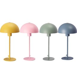 Painted Bedside Tables NZ - Modern Bedroom Bedsides Table Light Painted Metal Umbrella Lampshade Study Room Desk Lamps Recreation Table Lighting Fixture