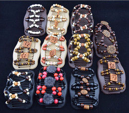 Hair barrettes beads online shopping - Women Wooden Magic Hair Comb Beads Mood Mixed Different Styles Wood Barrettes Fashion Double Row Hot Accessories Hair Clips AAA28