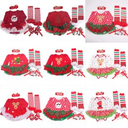 Wholesale Christmas Tutus Australia - Santa Claus Red Lace Tutu Baby Girl Christmas Dresses Headband Newborn Clothes Sets Bebe Christmas Suit Toddler Infant Clothing