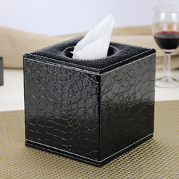 Antique Tissue Box Australia - Square Leather Tissue Box For Car Antique Noble Tissue Case Home Decoration Storage Tissue Holder Wedding Gift