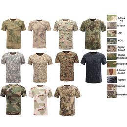 army pink green uniform NZ - Outdoor Woodland Hunting Shooting Shirt Battle Dress Uniform Tactical BDU Army Combat Clothing Cotton Camouflage T-Shirt SO05-104