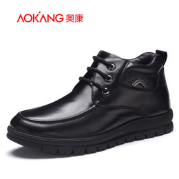 leather lace free shipping Canada - Aokang New Arrival Genuine leather winter boots men boots ankle boots lace up short plush keep warm free shipping
