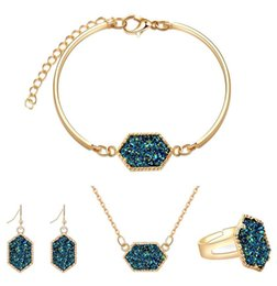 Discount red bracelets for women - Fashion Druzy Drusy Jewelry Sets Popular Faux Stone Turquoise Bracelet Earrings Necklace & Ring For Women Lady Jewelry