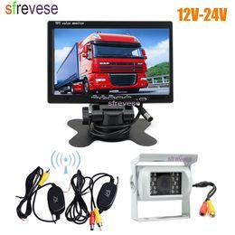 "Trucks Camera NZ - 7"" LCD Monitor Car Rear View Kit + White Waterproof 18 IR LED Wireless Reversing Backup Camera for Bus Truck 12V-24V"