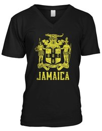 2b32add14 Mens Coated T Shirt UK - Amdesco Men's Jamaican Coat of Arms Jamaica V-Neck
