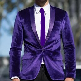 1c0bbfc90c05 High Quality One Button Purple Velvet Wedding Groom Tuxedos Peak Lapel  Groomsmen Mens Dinner Blazer Suits (Jacket+Pants+Tie) NO:1766