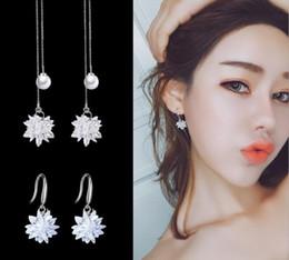 sterling silver flower earring hooks 2019 - Fashion new ice earrings female ear hook s925 sterling silver needle crystal flower ear ear earrings Korean personality