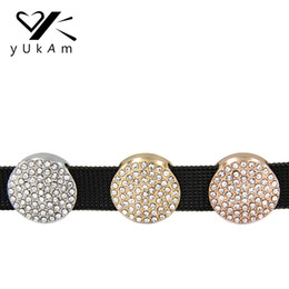 Stainless Steel Disc Charms Australia - YUKAM Jewelry Crystal Rhinestone Round Pave Disc Slide Keeper Charms fit for Reversible Stainless Steel Wrap Bracelets Making