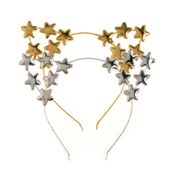 hair papers UK - 2 Colors Stars Headband Cat Ears Hairband with Mini Paper Flowers Hair Hoop for Kids Birthday Unicorn Party