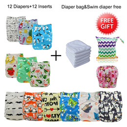 free diapers 2019 - Pocket Diaper Cover Couche Lavable Newborn Ohbabyka Diaper Reusable Cloth Nappy 12pcs+12pcs Microfiber Inserts+1 Free Ba