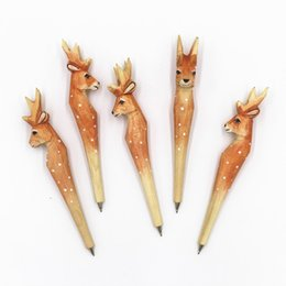 Pen Handmade Australia - Handmade Wood carve vintage forest Giraffe spoed dear Ballpoint pen Party Favor Gift Office Stationery School Writing Supplies