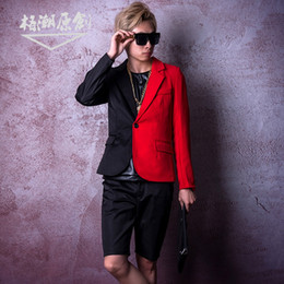 red black hip hop costumes 2019 - M-6XL  Nightclub male singer DSDJ's big-name catwalk GD black and red spliced suit hip hop jazz hairdresser bar cos