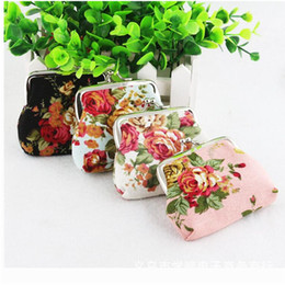 Canvas Coin Gift Bags Wholesale Australia - Wholesale Vintage flower coin purse lovely mini women and girlss coin purse canvas key holder wallet hasp small christmals gifts bag