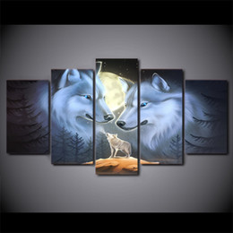 piece paintings Canada - Wall Art Room Home Decor Frame Canvas HD Prints Poster 5 Pieces Full Moon Night Animal Wolves Painting Landscape Pictures